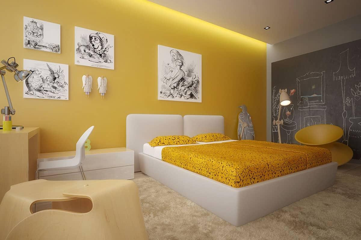 اللون الاصفر لغرفة نومك