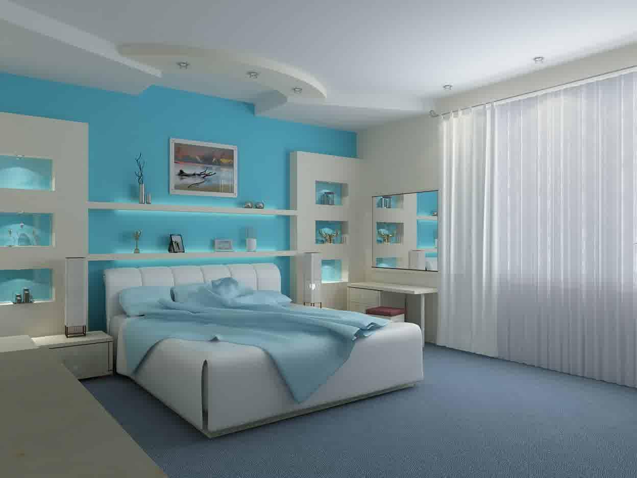 غرف نوم باللون الازرق