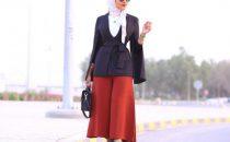 بالصور : أزياء أنيقة باللون الأحمر للمحجبات