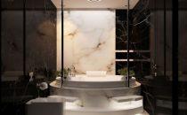 ديكور حمامات فاخرة باللون الأسود
