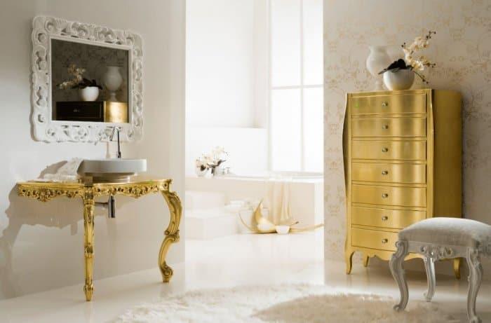 ديكور حمامات باللون الذهبي الفاخر