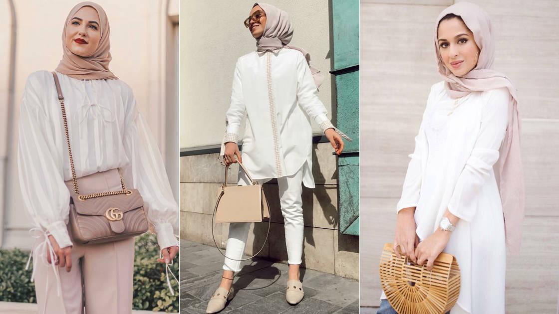 أفكار ملهمة لتنسيق القميص الأبيض مع الحجاب