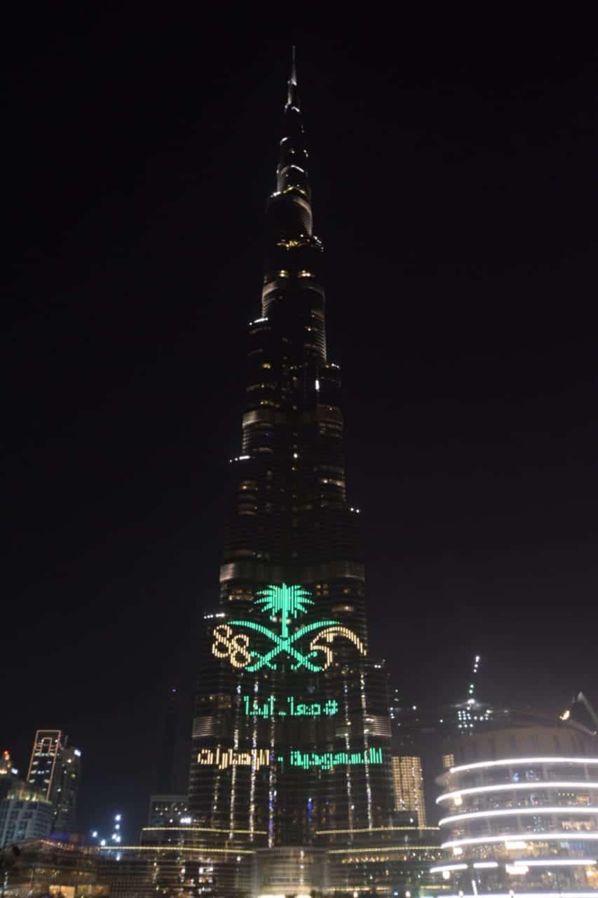 اليوم الوطني السعودي في دبي وفي برج خليفة