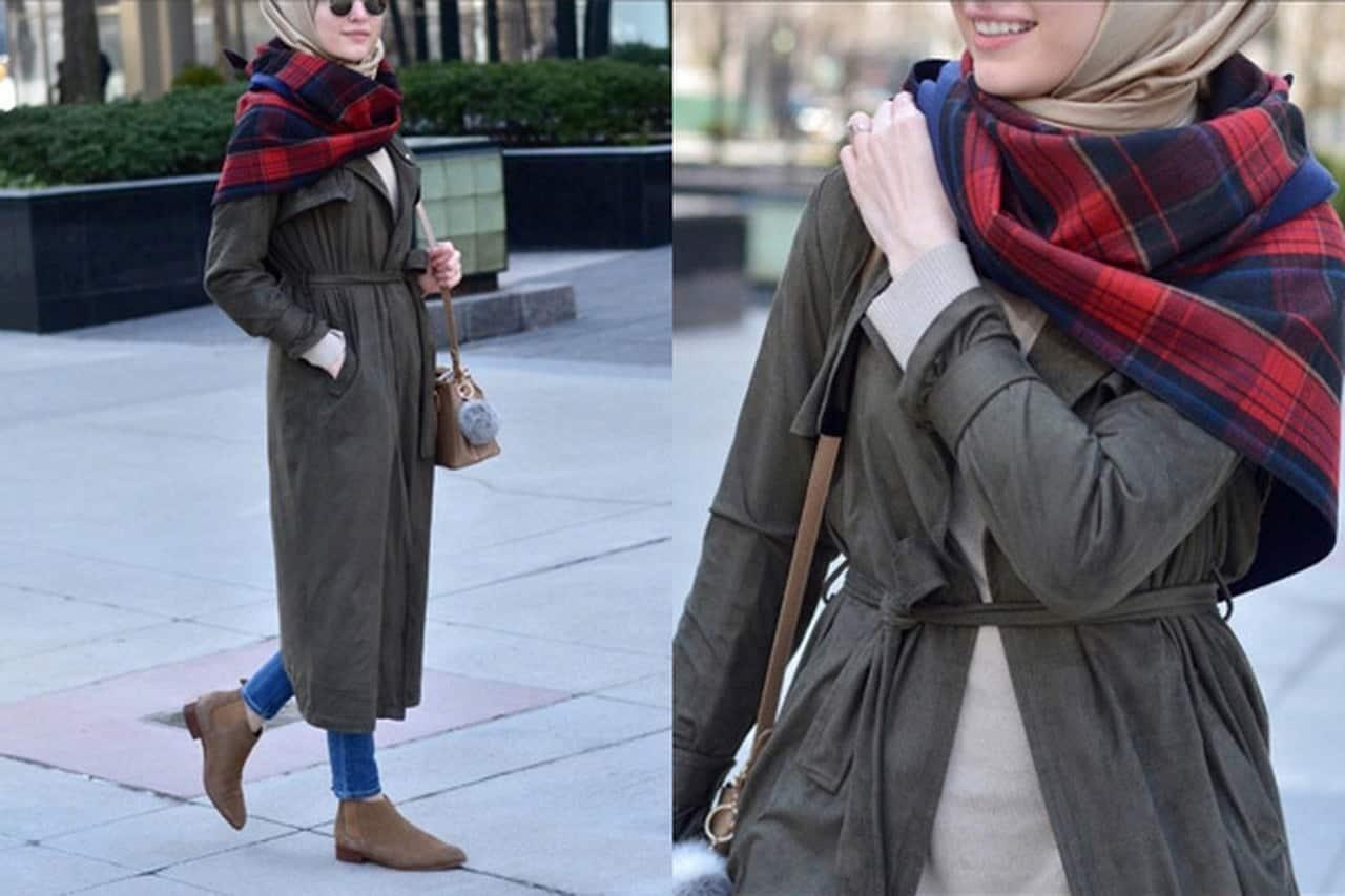 طرق تنسيق الحجاب مع صيحة الياقة العالية