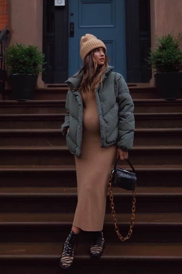 أفضل الفساتين الشتوية للحوامل 2020