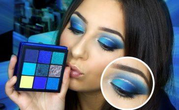 مكياج عيون جريء باللون الأزرق الغليتر للسهرات